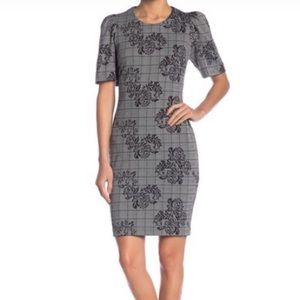 Nanette Lepore plaid floral puff sleeve dress 12